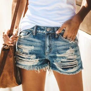 Distressed CutOff Shorts Ripped Denim Medium Wash